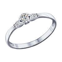 Серебряное кольцо с фианитом Swarovski SOKOLOV (89010027)