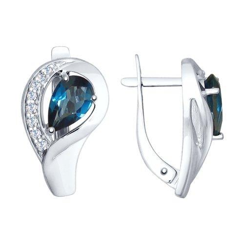 Серебряные серьги-классические с топазом лондон и топазом SOKOLOV (92021598)