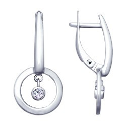 Серебряные серьги-подвески с фианитом SOKOLOV (94022964)