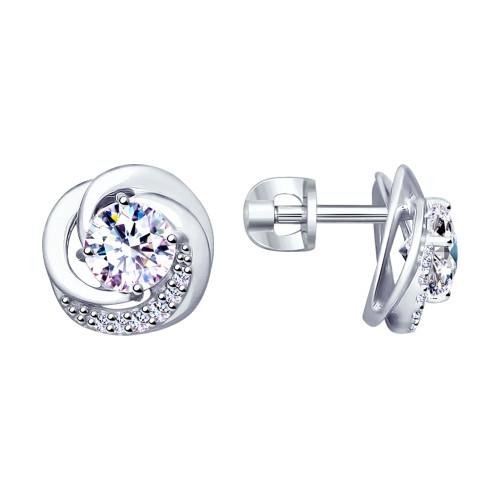 Серебряные серьги-пуссеты с фианитом SOKOLOV (94023003)