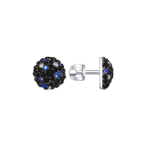 Серебряные серьги-пуссеты с фианитом SOKOLOV (94022650)
