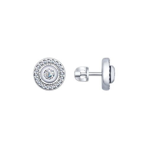 Серебряные серьги-пуссеты с фианитом SOKOLOV (94022237)
