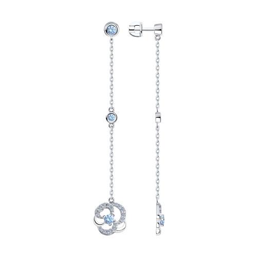 Серебряные серьги-протяжки с фианитом SOKOLOV (94023580)