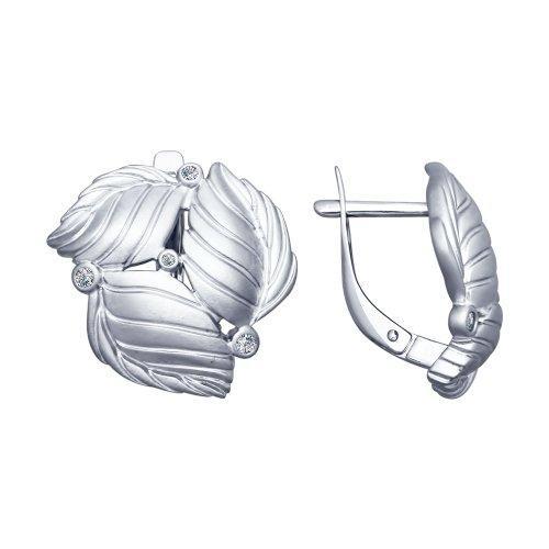 Серебряные серьги-классические с фианитом SOKOLOV (94022587)