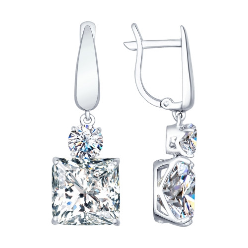 Серебряные серьги-подвески с фианитом SOKOLOV (94022278)