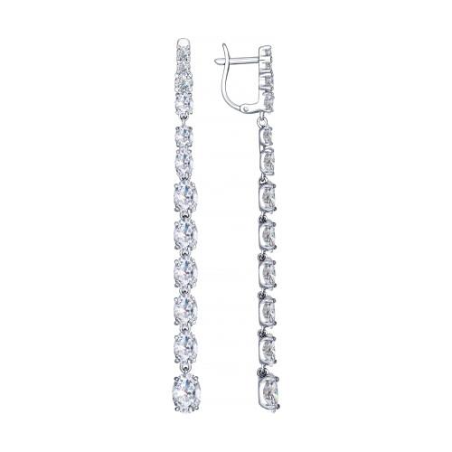 Серебряные серьги-протяжки с фианитом SOKOLOV (94022461)