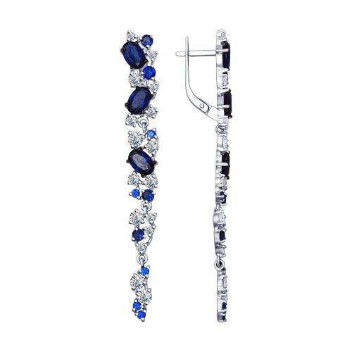Серебряные серьги-протяжки с фианитом SOKOLOV (94022427)