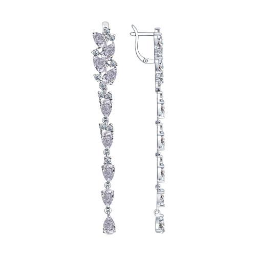 Серебряные серьги-протяжки с фианитом SOKOLOV (94022375)