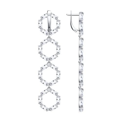 Серебряные серьги-подвески с фианитом SOKOLOV (94023776)