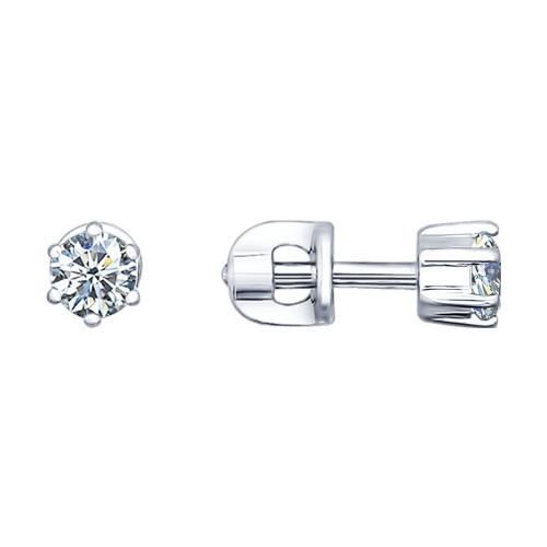 Серебряные серьги-пуссеты с фианитом и эмалью SOKOLOV (94021720)