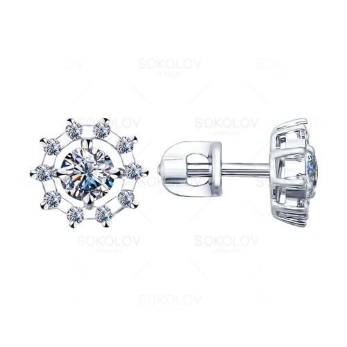 Серебряные серьги-пуссеты с фианитом и эмалью SOKOLOV (94021762)