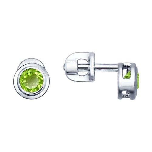 Серебряные серьги-пуссеты с хризолитом SOKOLOV (92021084)