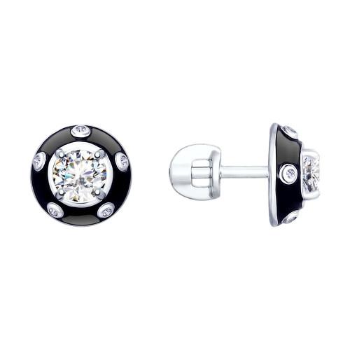 Серебряные серьги-пуссеты с горным хрусталём и фианитом SOKOLOV (92021795)