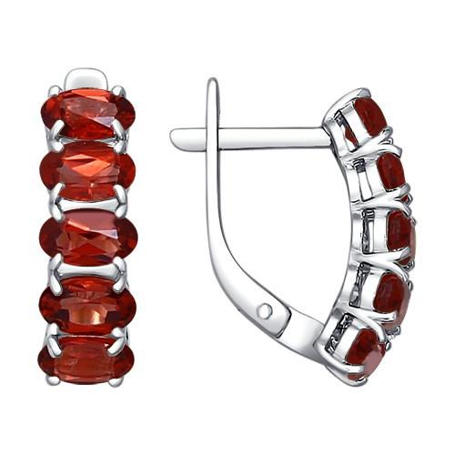 Серебряные серьги-классические с гранатом SOKOLOV (92021029)