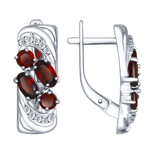 Серебряные серьги-классические с гранатом и фианитом SOKOLOV (92021362)