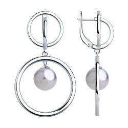 Серебряные серьги-подвески с жемчугом SOKOLOV (94023706)