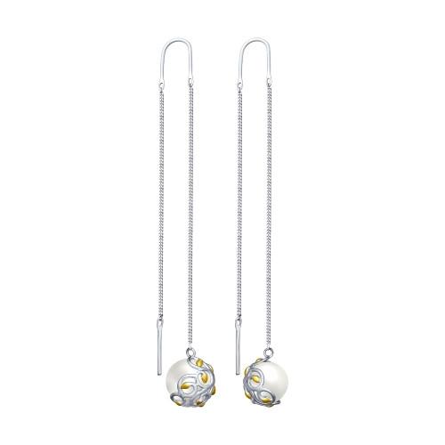 Серебряные серьги-протяжки с жемчугом и жемчугом имитированным SOKOLOV (94022702)