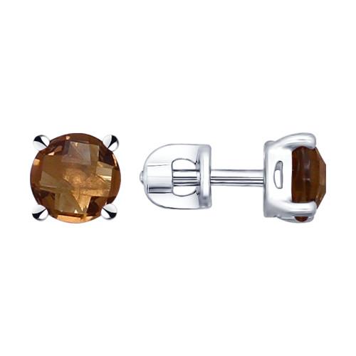 Серебряные серьги-пуссеты с раухтопазом SOKOLOV (92021133)
