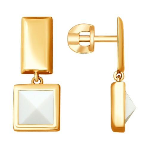 Серебряные серьги-пуссеты с ситаллом SOKOLOV (93020849)