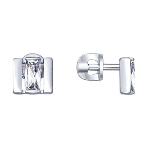 Серебряные серьги-пуссеты с фианитом SOKOLOV (94022994)