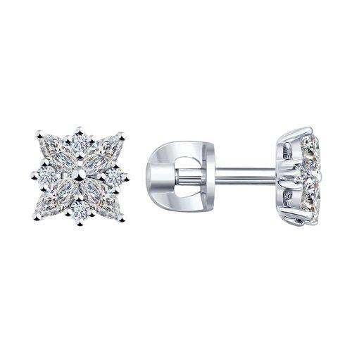 Серебряные серьги-пуссеты с фианитом SOKOLOV (94021970)