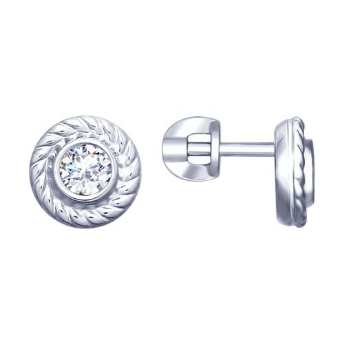 Серебряные серьги-пуссеты с фианитом SOKOLOV (94022870)