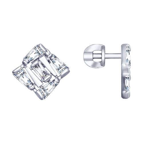 Серебряные серьги-пуссеты с фианитом SOKOLOV (94022990)