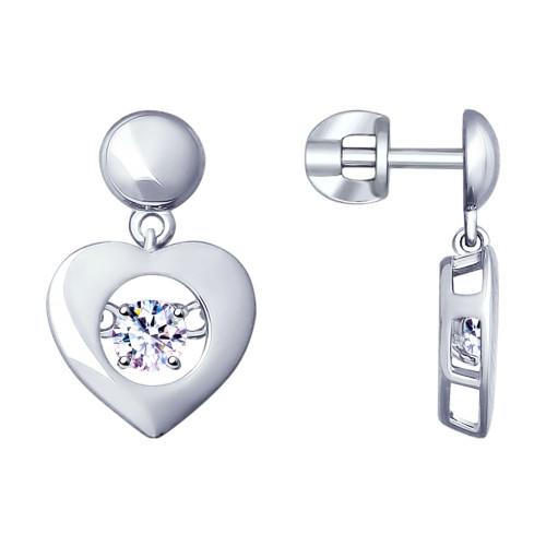Серебряные серьги-подвески с фианитом SOKOLOV (94022957)