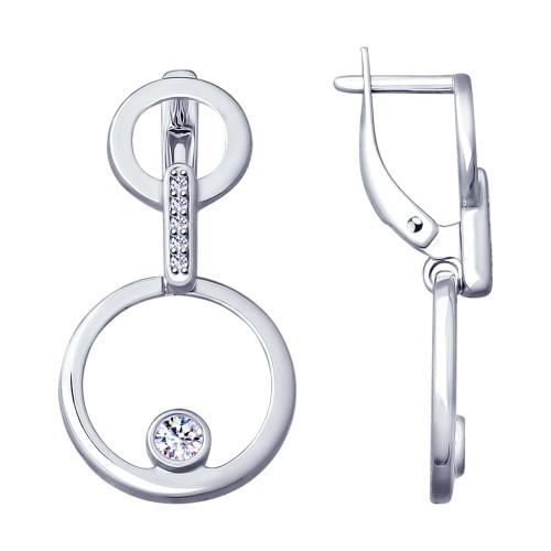 Серебряные серьги-подвески с фианитом SOKOLOV (94022968)