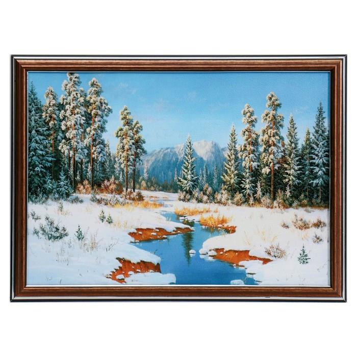 """Картина """"Речка в зимнем лесу"""" 28х38 см"""