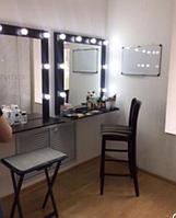 Визажное зеркало с полкой (8 лампочек)