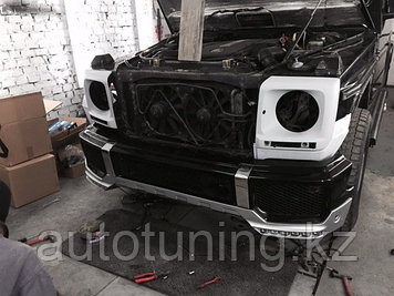 Накладка переднего бампера губа BRABUS под бампер AMG для автомобиля Mercedes-Benz G-Class в кузове W463