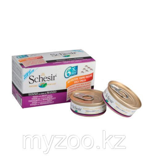 Schesir Шезир консервы для кошек ТУНЕЦ+ГОВЯДИНА 50гр*6шт