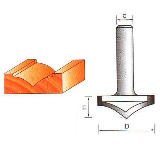 Фреза пазовая V-образная Глобус D=40,l=14,d=8mm,120° арт.1004 120
