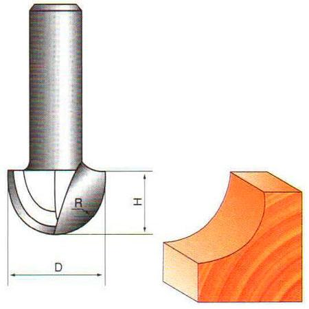 Фреза галтельная пазовая ГЛОБУС D=10,L=7.5mm,d=8mm арт.1005 D10