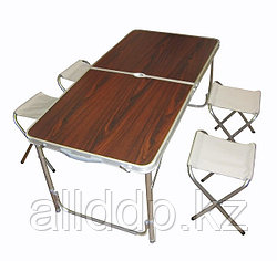 Стол складной туристический для пикника со стульями 4 шт. (120x60x70/55 см)