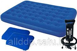 Матрас надувной двуспальный 203х152х22 см, max 295 кг, Bestway 67374, подушки 2, насос ручной, поверхность фло