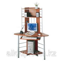 Компьютерный стол, Deluxe, DLFT-1010B, Angel, МДФ, 113*158*65 см, Ореховый, Полки для клавиатуры и сис. блока, Угловой