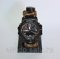 Часы с браслетом выживания из паракорда 3м + компас, огниво, свисток