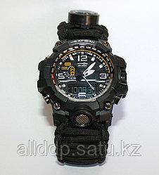 Часы с браслетом выживания из паракорда 3м + компас, огниво, свисток, черные