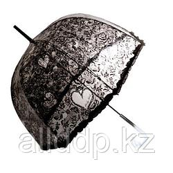 Прозрачный женский зонт-трость полуавтомат с кружевным принтом