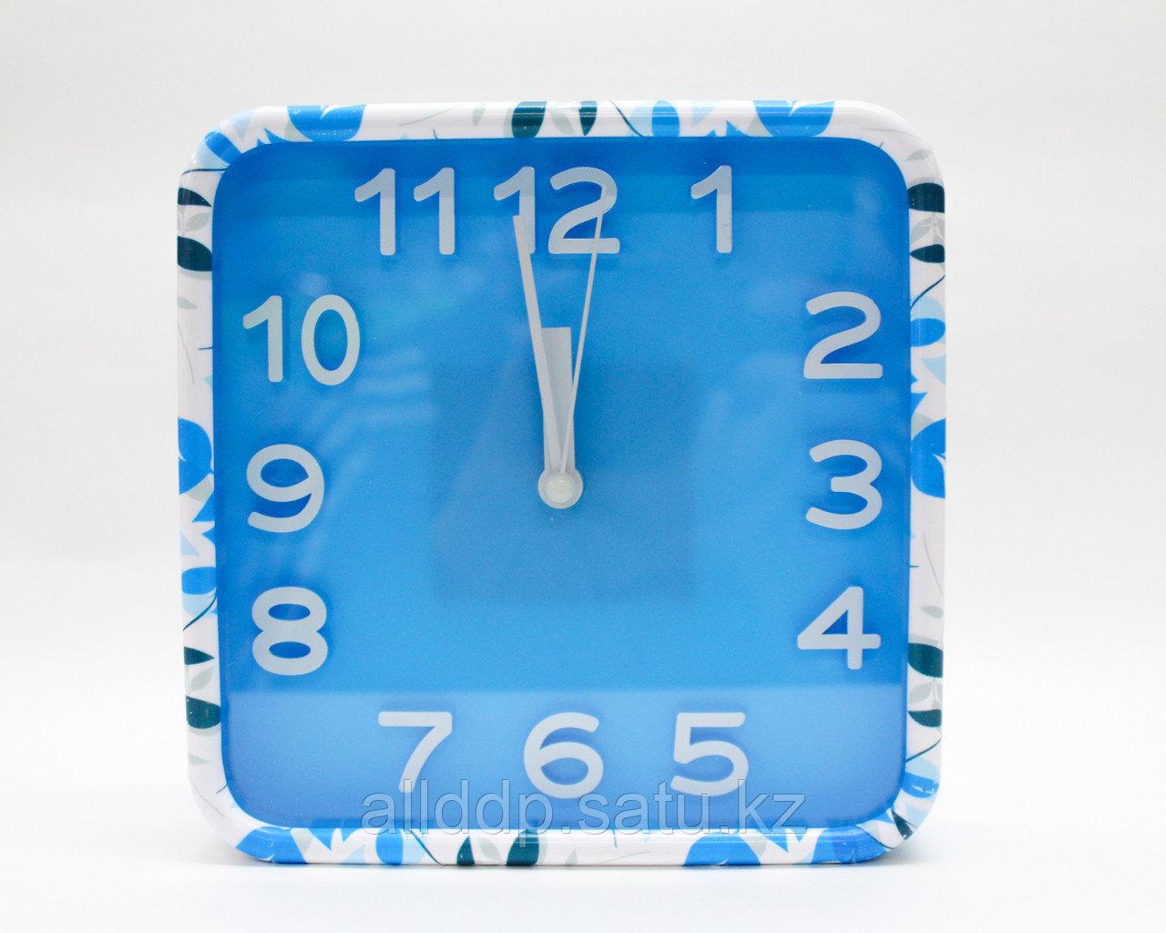 Часы-будильник квадратные, голубые, 15 см