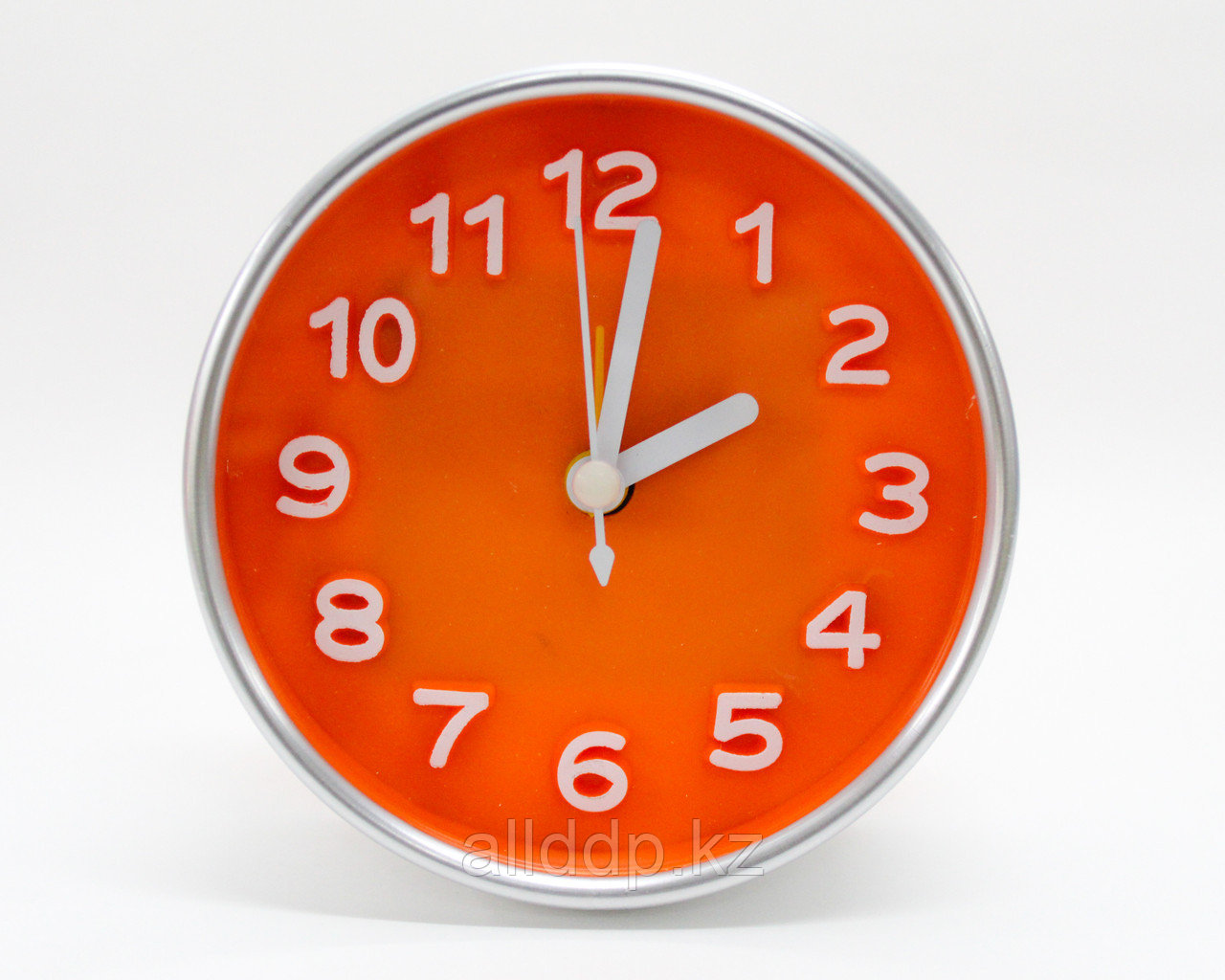 Часы-будильник круглые, оранжевые, 10 см