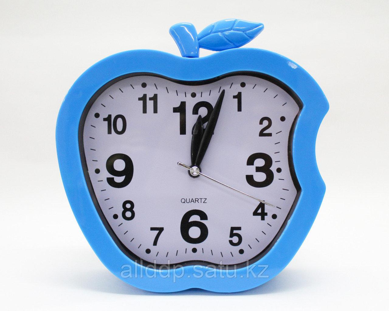 Часы-будильник яблоко, голубые, 15 см