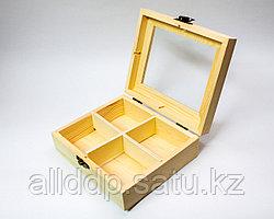 """Заготовка для декора """"Шкатулка-прямоугольная"""", деревянная, 13*15 см"""