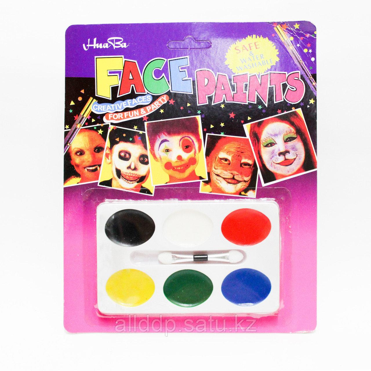 Аквагрим, краски для лица 6 цветов