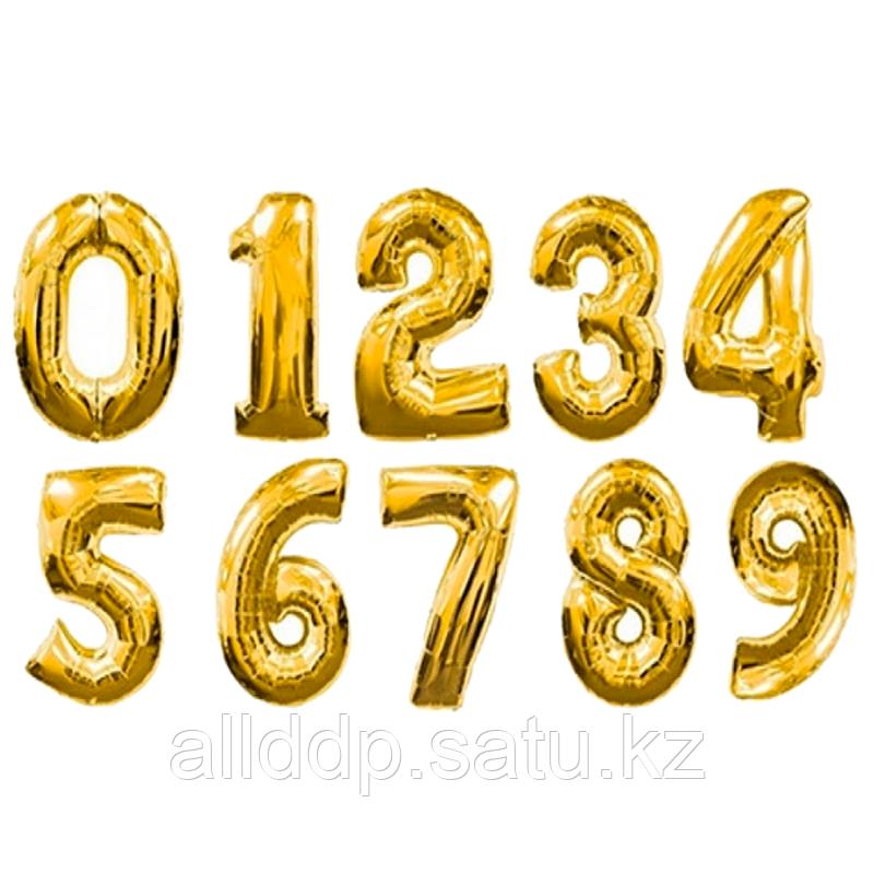 Шар надувной праздничный, цифры, золотистый, 80 см.