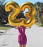 Шар надувной праздничный, цифры, золотистый, 80 см., фото 2