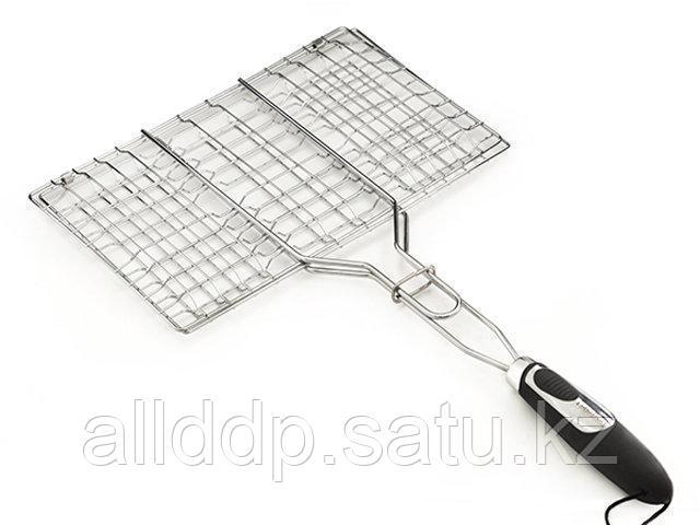 1041 FISSMAN Решетка для приготовления стейка на гриле 35,5x22,5x2,5 см с пластиковой ручкой (хромированное по