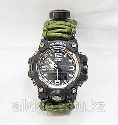 Часы с браслетом выживания из паракорда 3м + компас, огниво, свисток, зеленые